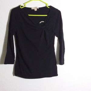 3/4 sleeve Casual Black knit shirt Small